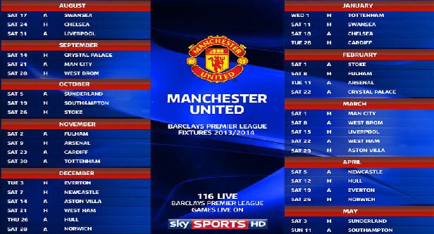 Man City Fixtures: Manchester United Fixture Of Premier League 2013-2014