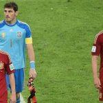 Casillas Iniesta & Torres after defeat over Spain