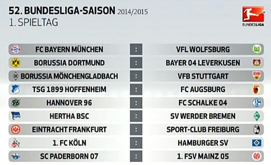 Bundesliga 2014-15 Fixtures in IST