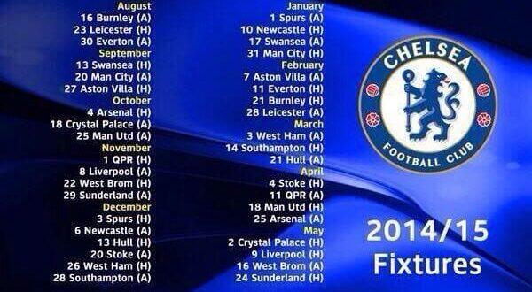 Chelsea FC 2014-15 fixtures in IST