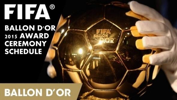 FIFA Ballon D'or 2015 award ceremony schedule time