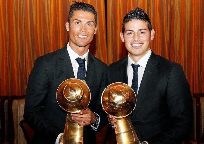 Ronaldo with James Rodriguez at Globe Soccer Award Ceremony