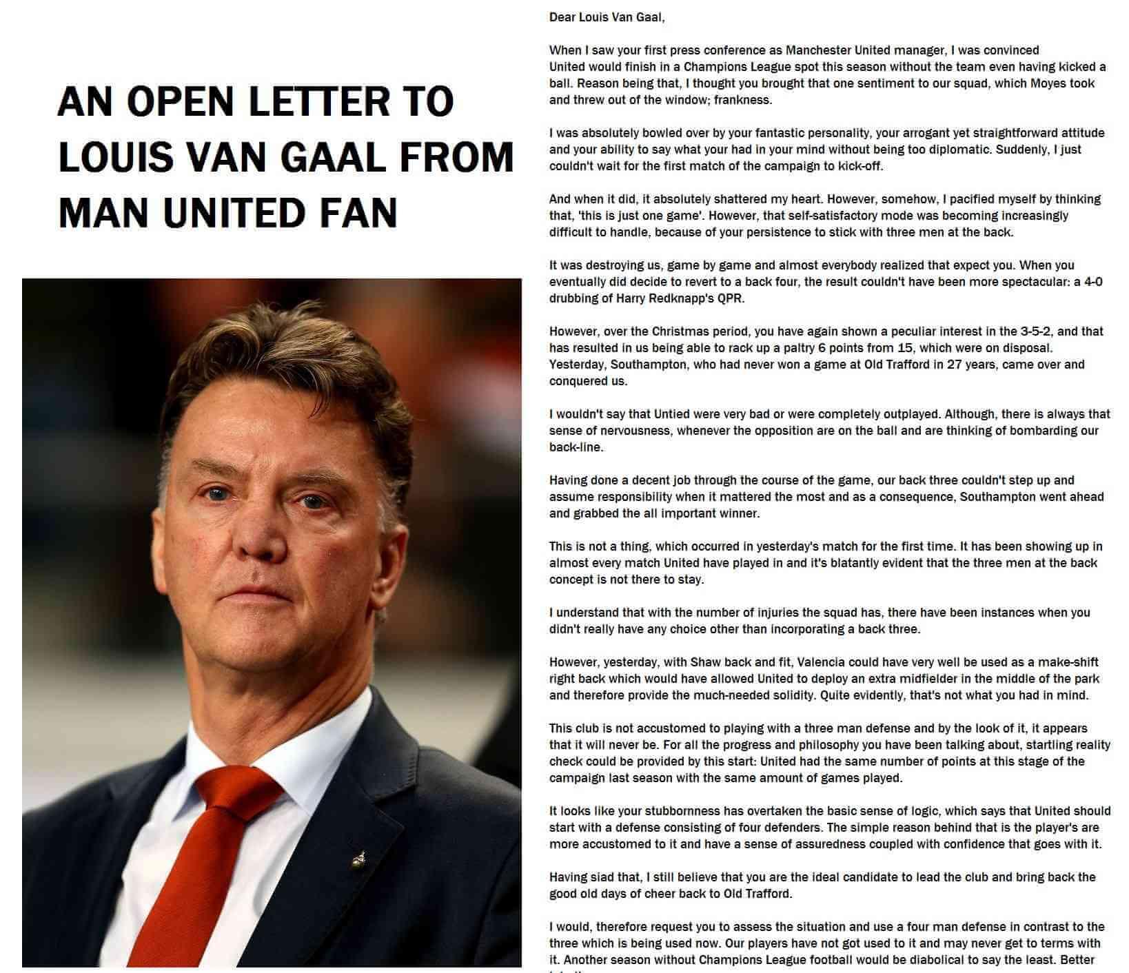 An open letter to Louis Van Gaal