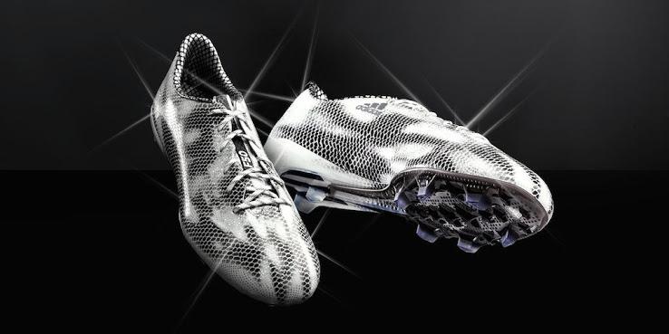 Shiny Adidas Adizero F50 white black boots
