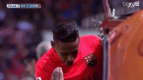 Neymar reaction after susbtitution