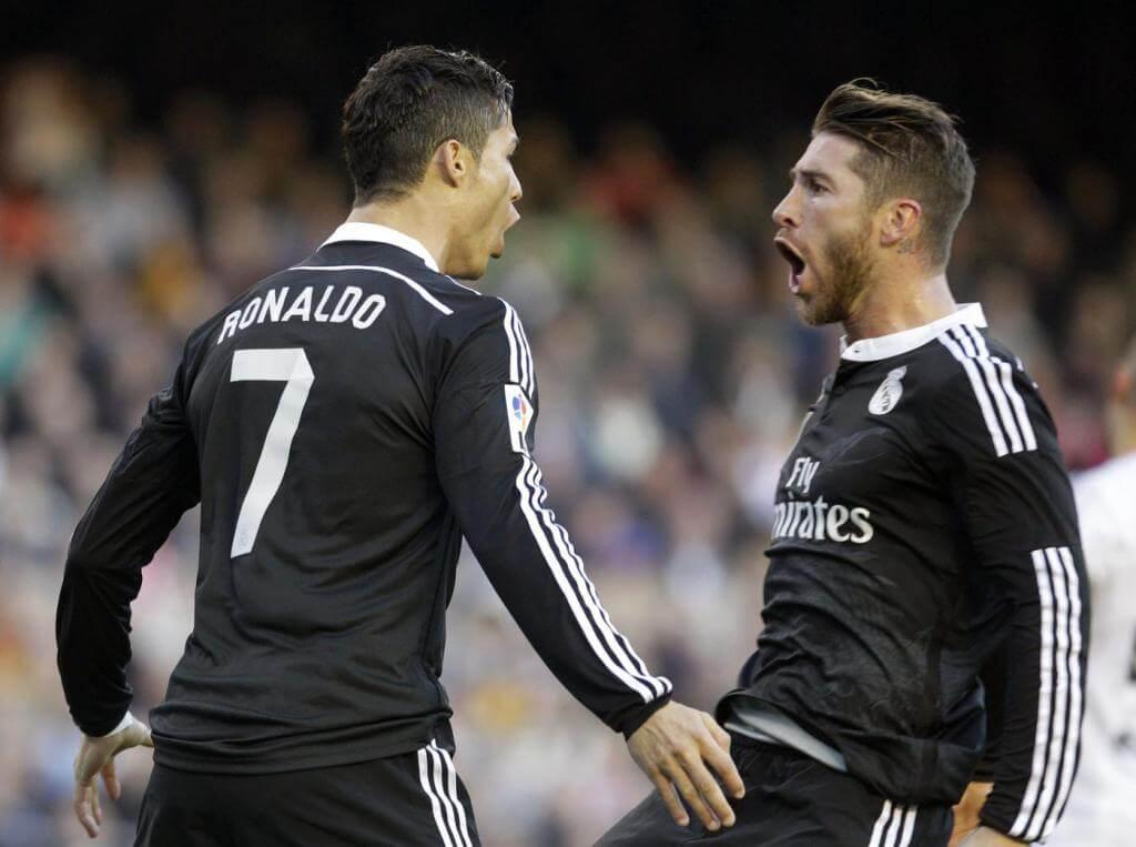 Sergio Ramos with Cristiano Ronaldo