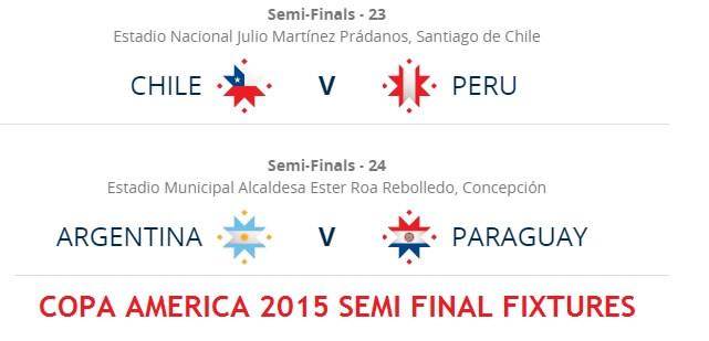 Copa America 2015 Semi Final Fixtures
