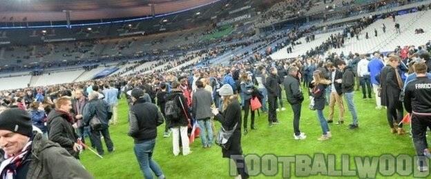 Fans came onto the pitch after France vs Germany match