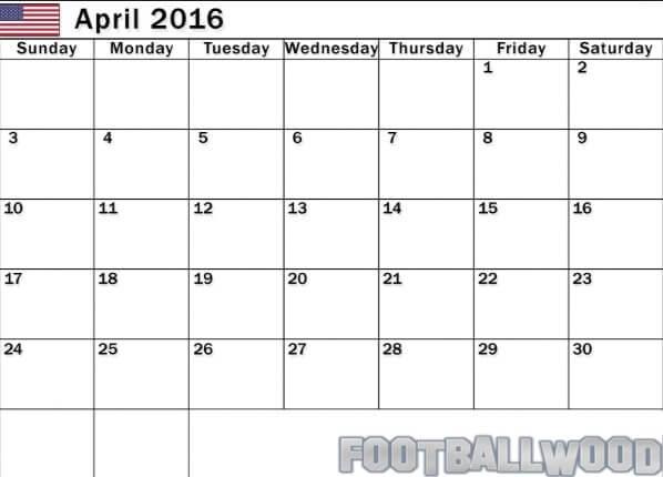 April 2016 Calendar Holidays