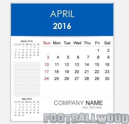 April Calendar 2016 Clipart