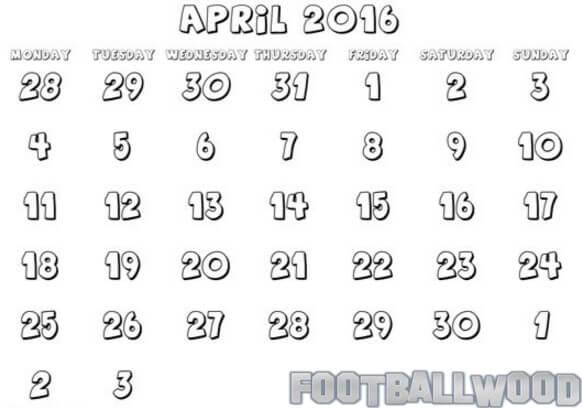April Calendar 2016 Coloring Pages