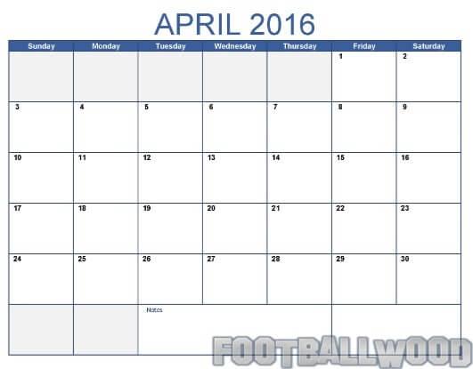 April calendar 2016 template
