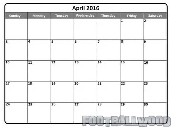 Blank April Calendar 2016