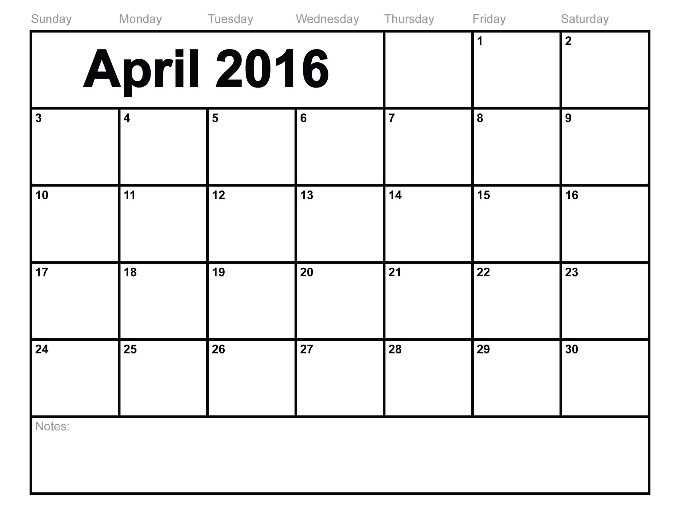 Football Calendar April 2016